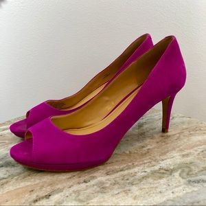 Enzo Angiolini Suede pink heels size 9.5 Peep Toe